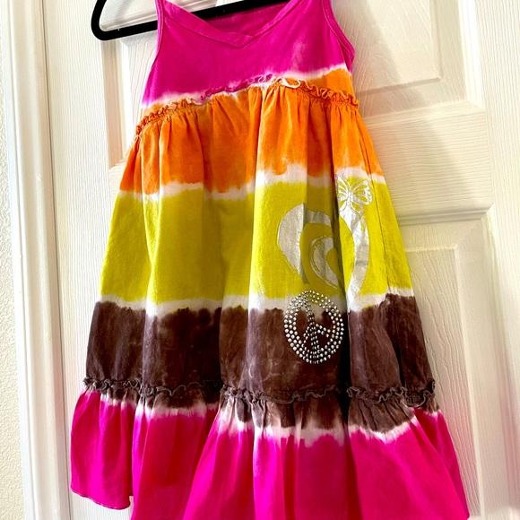 Girls Summer Tie Dye Tiered Dress Peace Sign sz 8
